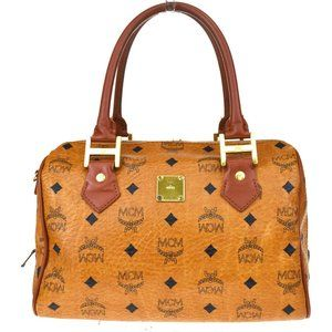 MCM Pattern Logo Hand Bag Leather Brown Gold-Tone